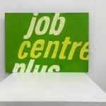 More green than centred v- a painting of a distorted job centre sign