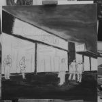 sketch of painting of Job centre and people