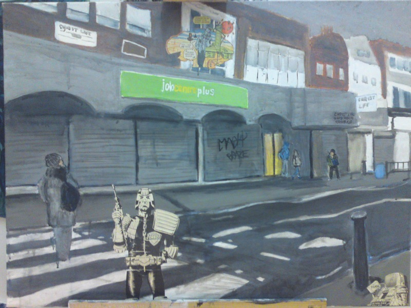 Painting of Deptford Job Centre and collage