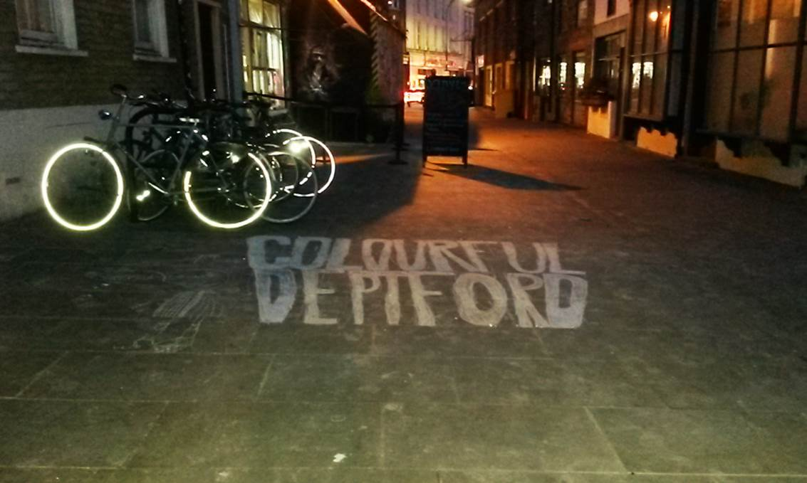 title of the Deptford Colouring Book on the pavement