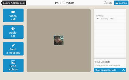 Breezie Address book entry for Paul Clayton