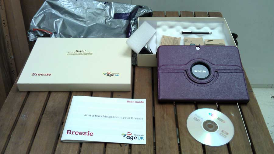 Contents of the box that a Breezie comes in