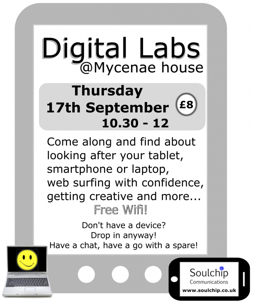 Digital Lab flyer 17th September at Mycenae house