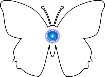 an outline of a butterfly and the soulchip symbol